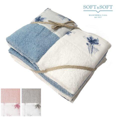 PRATOLINA Pure cotton bath towel set 2+2 flowers