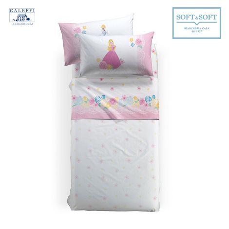 lenzuola principesse Disney per letto da una piazza e mezza lenzuola a fondo bianco con stampa Cenerentola e Aurora