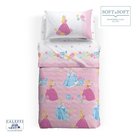 ELSA BLU Quilted Bedcover SINGLE Bed Size by Disney CALEFFI