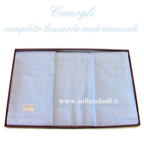 lenzuola per letto matrimoniale tessuto tinta unita effetto rigatino azzurro con lenzuolo sotto senza angoli piatto cm 240x300 Made in Italy