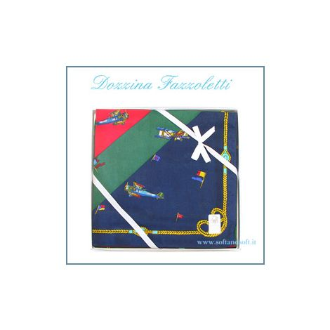 DOZEN Handkerchiefs Pattern Airplane cm 48x48 pure cotton
