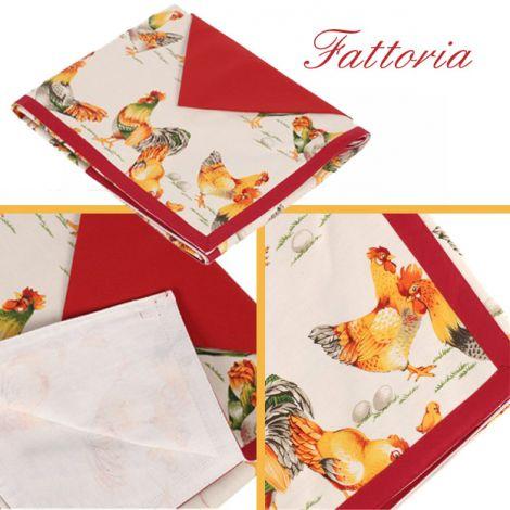 FATTORIA Tovaglia per 8 con tovaglioli cm 150x220- Vallesusa