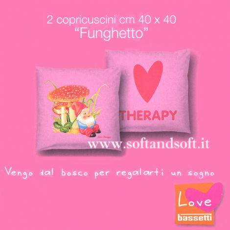 BASSETTI LOVE Funghetto Coppia Copricuscini 40x40