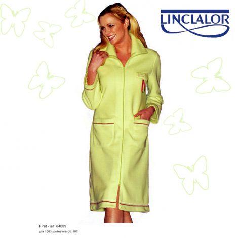 LINCLALOR 84089 Vestaglia Donna Pile tinta unita con cerniera