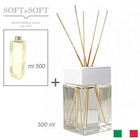 Aroma fragrances diffuser for room glass and wood white ml 500 (with 500ml refill)