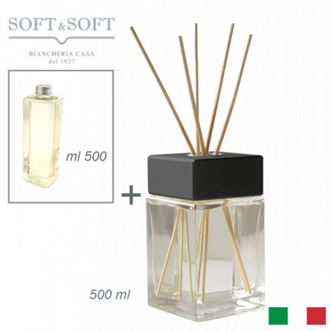 Aroma fragrances diffuser for room glass and wood Black ml 500 (with 500ml refill)