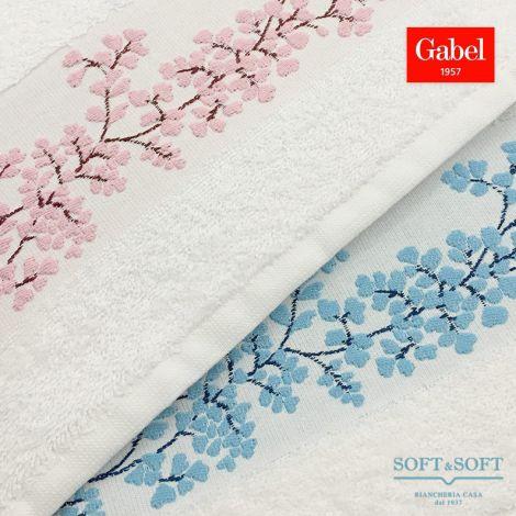 asciugamani bianchi con fascia jacquard con fiorellini azzurri