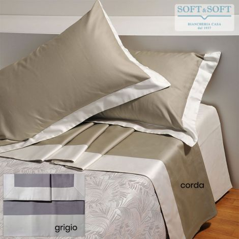 BALZA BICOLORE Sheet Set for DOUBLE Bed Cotton Satin