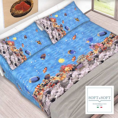 REEF sheet set for single bed in pure cotton fabric