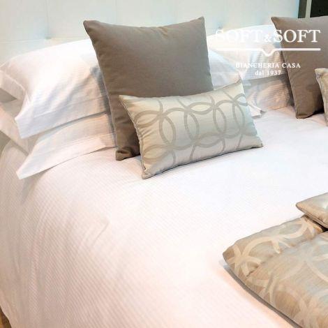 RIGATINO copripiumino per letto da una piazza e mezza bianco puro cotone cm 200x200+40