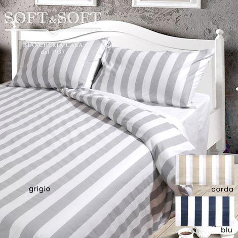 RIVER Striped Duvet Cover Parure DOUBLE Bed Size Pure Cotton