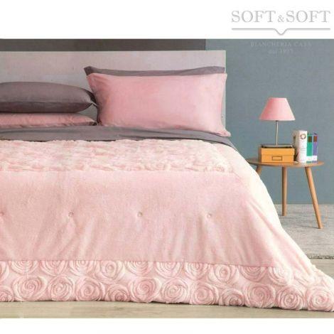ROMANTIC winter quilt DOUBLE bed size microfibre eco-fur