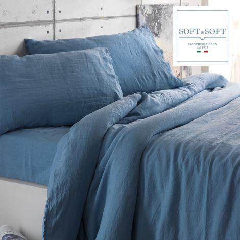 SIENA completo lenzuola puro cotone MATRIMONIALE STONE WASHED no stiro -Blu