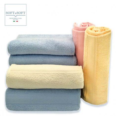 Soft Light set asciugamani tinta unita puro cotone OFFERTA