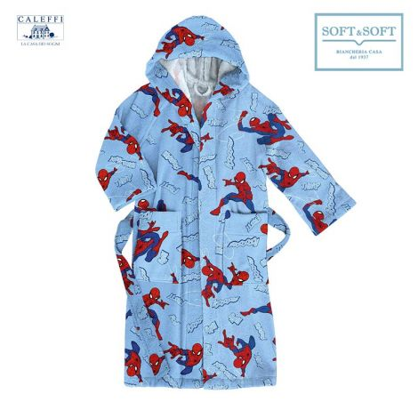 SPIDER-MAN CITY Hooded Bathrobe for baby Caleffi