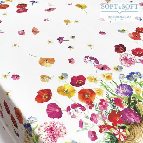 SPRING Tablecloth for 6 People Table 150x180 Digital Print Pure Cotton