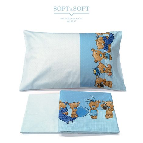 STELLA 16 Sheet Set for Cot Light Blue Bears