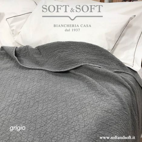 STONE quilted bedcover gray and dove