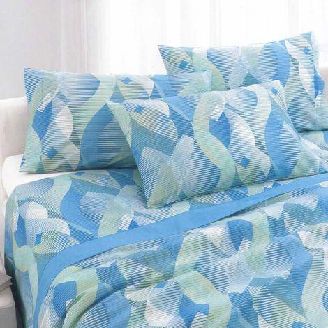 SUMMIT completo lenzuola misura MATRIMONIALE cotone stampato GABEL-Azzurro chiaro