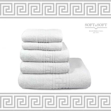 asciugamani bianchi in spugna di cotone greca