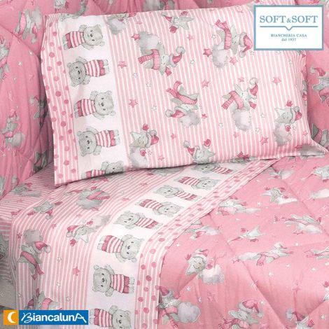 SUSY Sheet set for cot with sides BIANCALUNA Pink