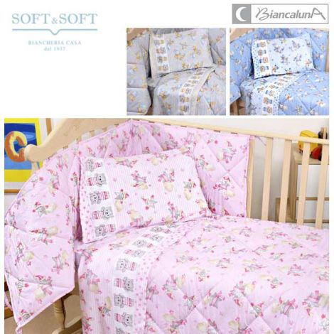 Susy set trapuntino e paracolpi lettino sponde Miss Terry Nursery Biancaluna -ROSA
