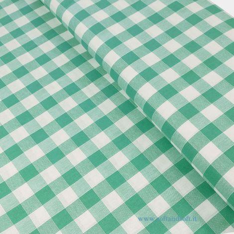 CAMPAGNOLA tovaglia A METRAGGIO di Puro Cotone cm 140 Quadretti Verde