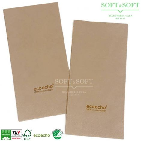 Organic Compostable Napkin cm 24x24 2 veils colour natural