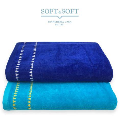 TRIANGOLINI striped beach towel in cotton chenille 86x175 cm
