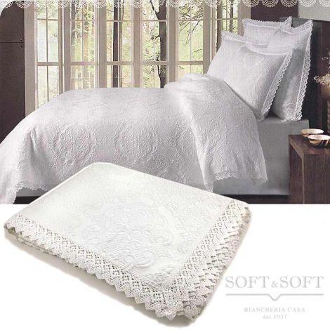 UNCINETTO bedspread in white cotton 260x260 cm