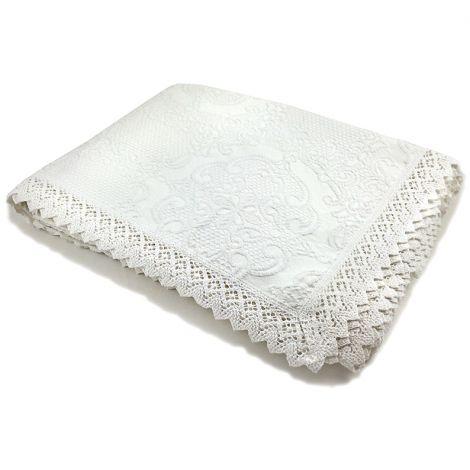 UNCINETTO copriletto matrimoniale in cotone bianco cm 260x260-Bianco