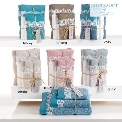 VIRNA Bath Towel 1+1 Set in Pure Cotton with Lace Flounce CREOLE