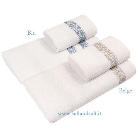 VIVALDI Set Asciugamani 1+1 in Spugna di Puro Cotone Balza Jacquard Blu